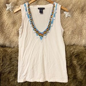 Boston Proper Beaded White Tank Top